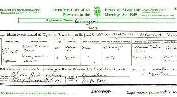 Certificate for the illegal marriage