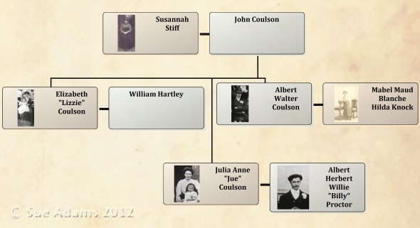 Relationship of Julia Ann Coulson & Albert Herbert Willie Proctor to the witnesses of thier marriage