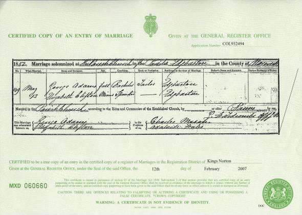 Marriage Certificate - George Adams & Elizabeth Clifton