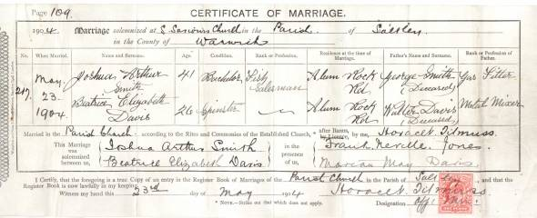 Marriage Certificate - Joshua Arthur Smith & Beatrice Elizabeth Davis