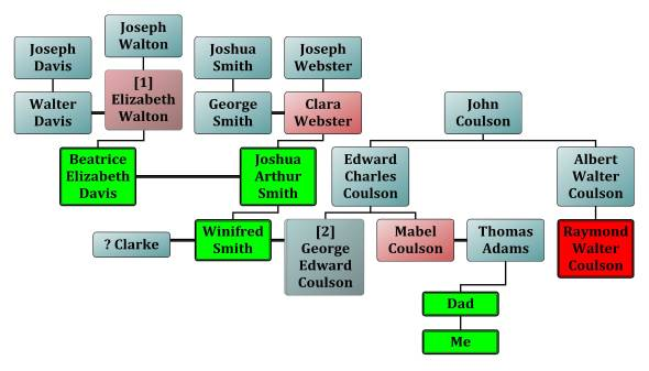 Chart of Winnie's ancestor & custodians of her collection